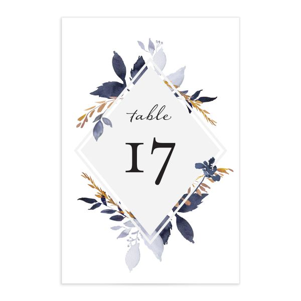 Leafy frame wedding table numbers in navy