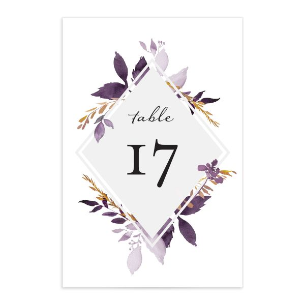 Leafy frame wedding table numbers in purple