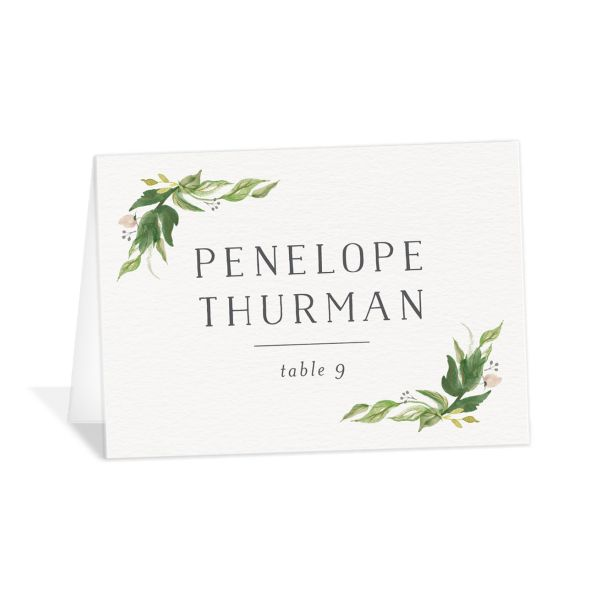 leafy wreath place cards in green