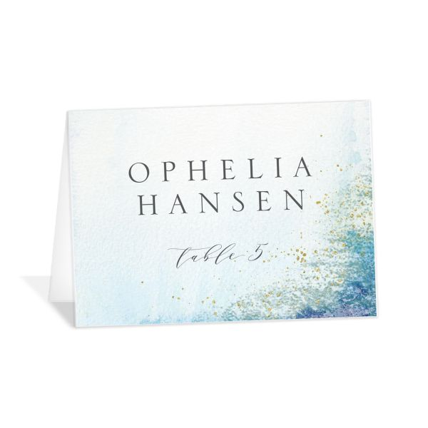 organic luxe place cards in blue