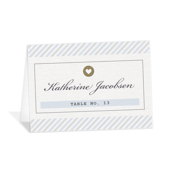 Vintage Boarding Pass place card blue