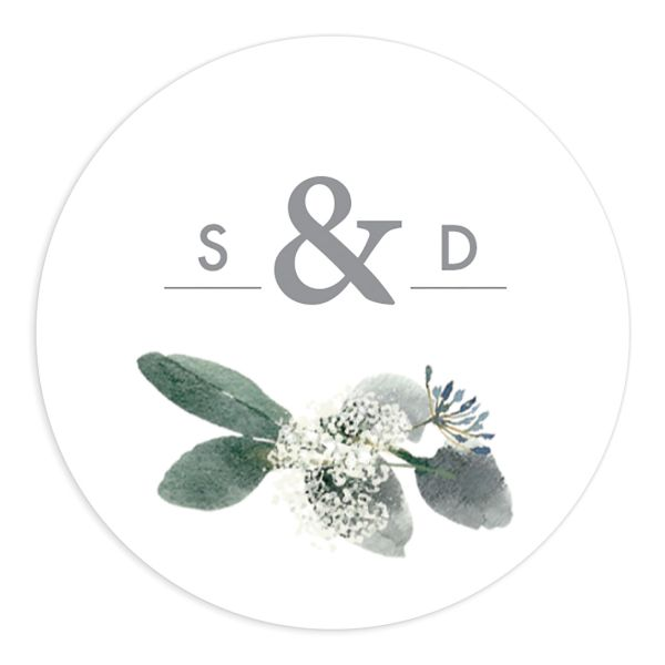 Elegant greenery round stickers