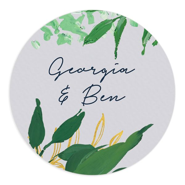 Painted Greenery wedding stickers in navy