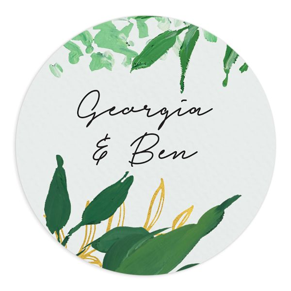 Painted Greenery wedding stickers in white