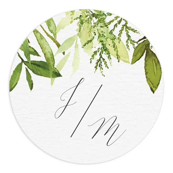 Watercolor Greenery wedding stickers