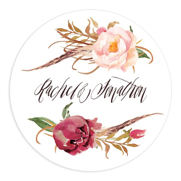 bohemian floral wedding stickers in burgundy
