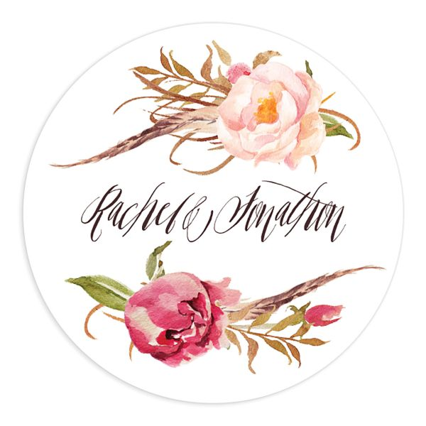 bohemian floral wedding stickers in pink