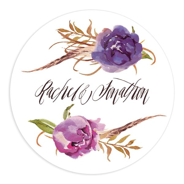 bohemian floral wedding stickers in purple