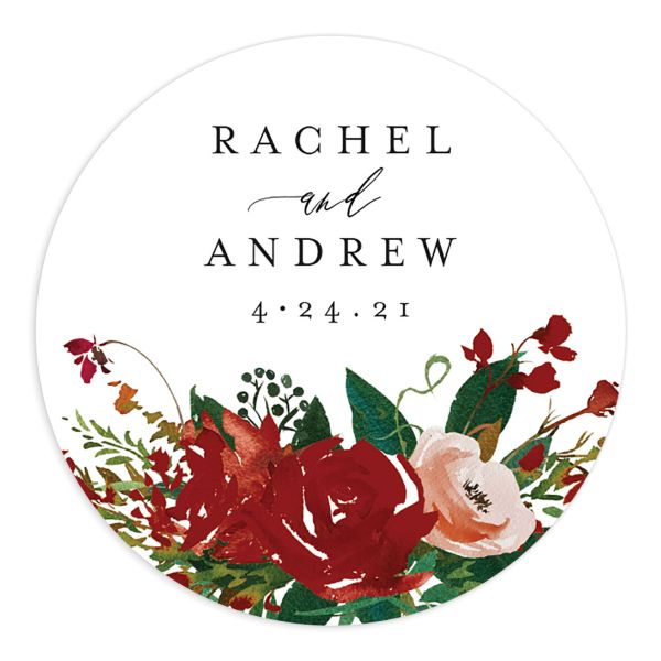 Cascading Altar wedding stickers in burgundy