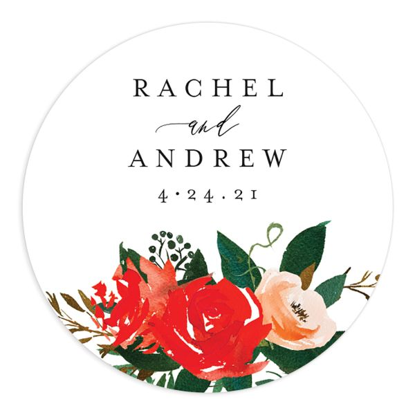Cascading Altar wedding stickers in bright red