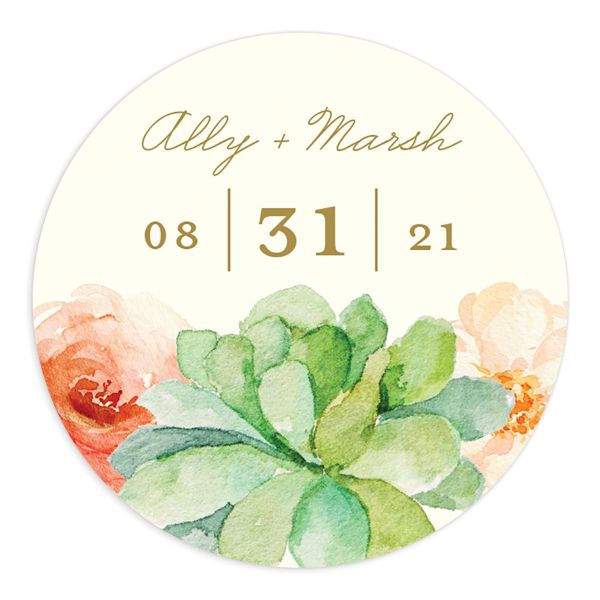 Elegant Oasis Wedding Stickers