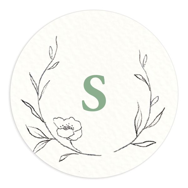 graceful botanical wedding stickers in green