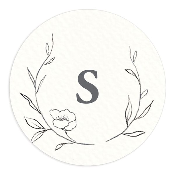 graceful botanical wedding stickers in grey