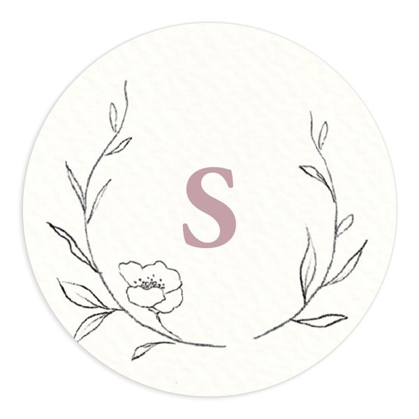 graceful botanical wedding stickers in pink