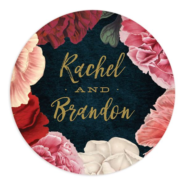 midnight peony wedding stickers