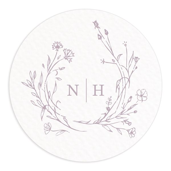 Natural Monogram wedding sticker in purple