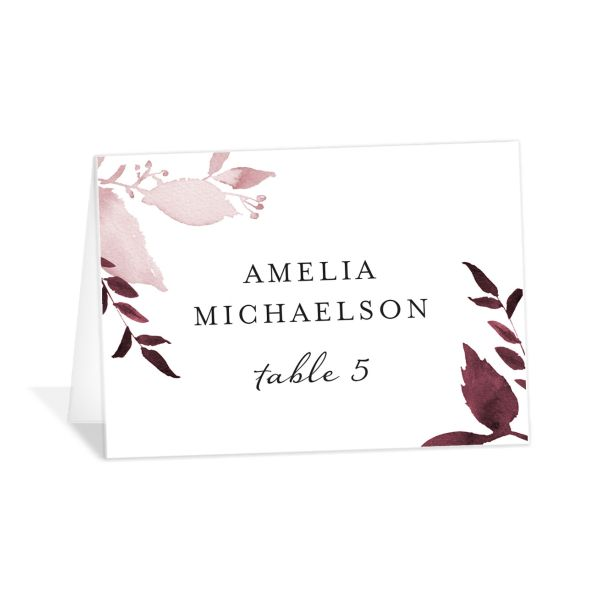 leafy frame place cards in burgundy