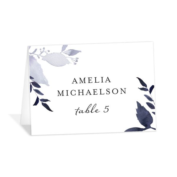 leafy frame place cards in navy