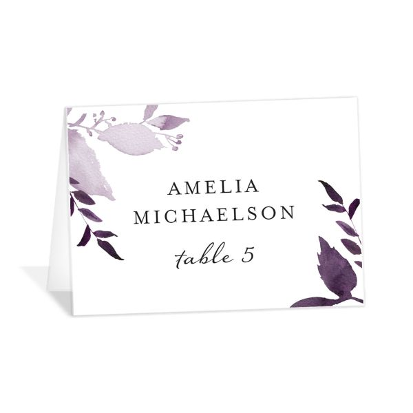 leafy frame place cards in purple