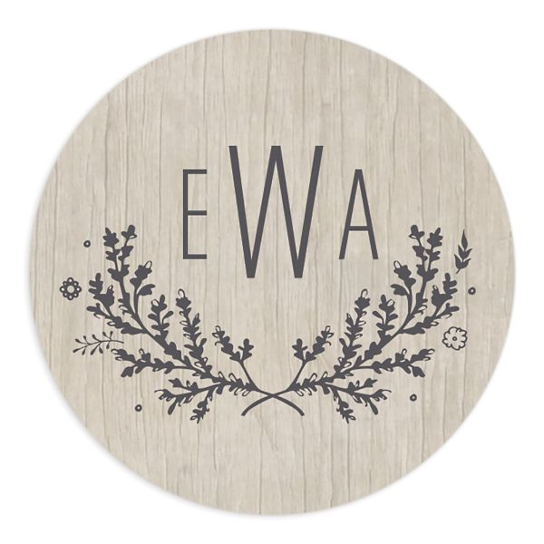 rustic chic wedding stickers in grey