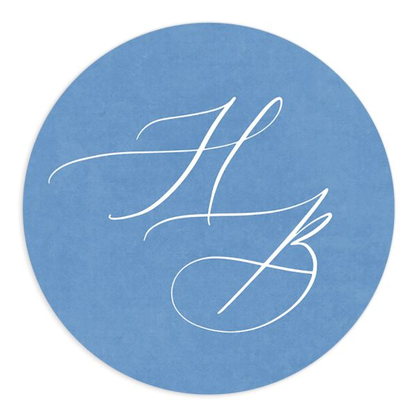 watercolor crest wedding stickers in blue