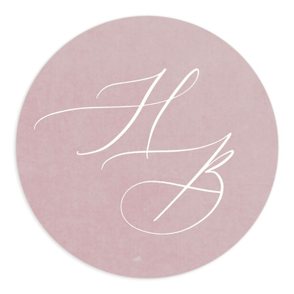 watercolor crest wedding stickers in pink