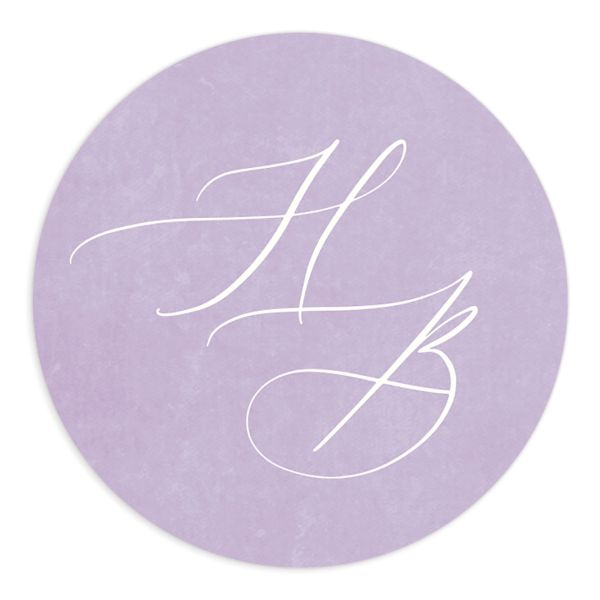 watercolor crest wedding stickers in purple