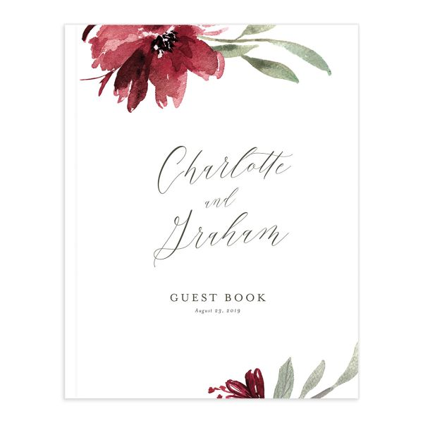 muted floral wedding guest book in burgundy