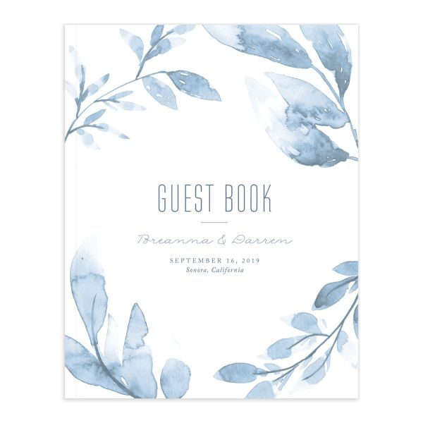 painted leaves wedding guest book