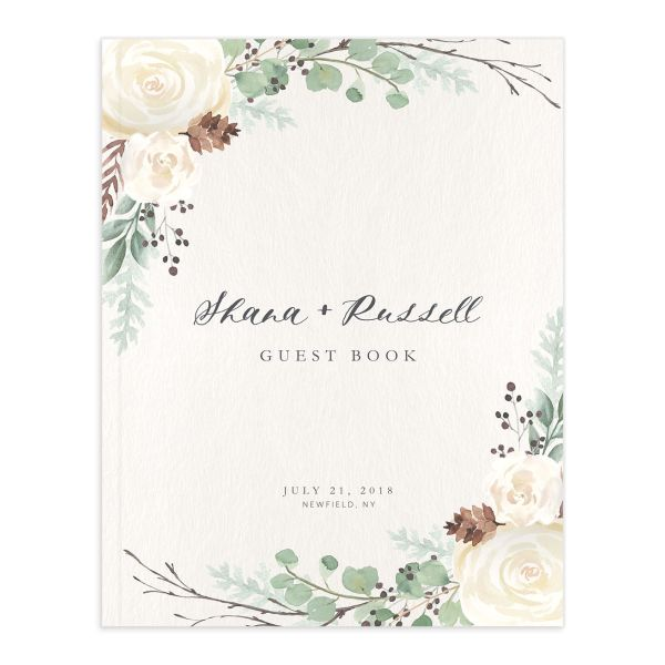 Rustic Botanical Custom Wedding Guest Book