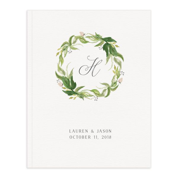 leafy wreath wedding guest books
