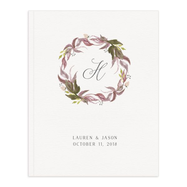 leafy wreath wedding guest book in purple