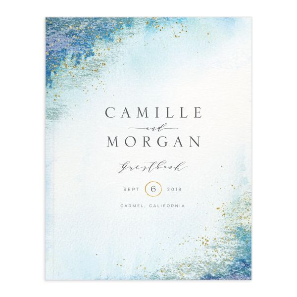 organic luxe wedding guest book in blue