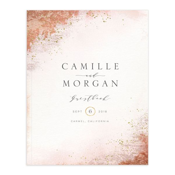 organic luxe weddin gguest book in orange
