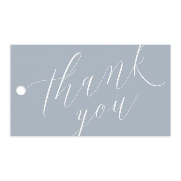 At Last thank you gift tags in blue front