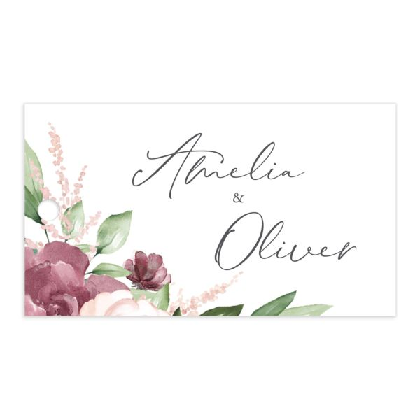 Beloved Floral Wedding Favor Gift Tags in purple