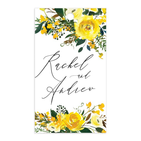 Cascading Altar wedding gift tags in yellow back