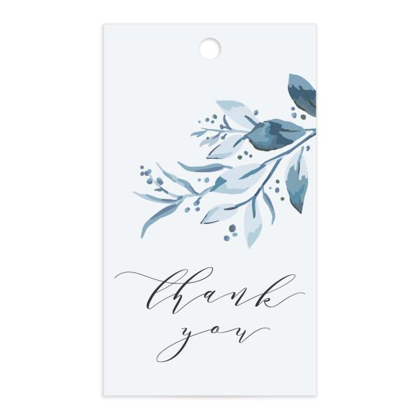 classic greenery wedding favor gift tags in blue