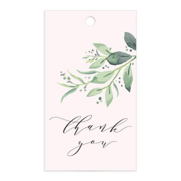 classic greenery wedding favor gift tags in pink