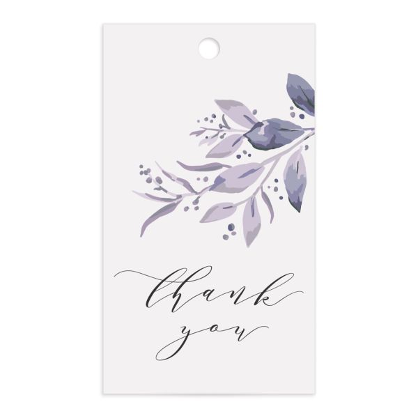 classic greenery wedding favor gift tags in purple