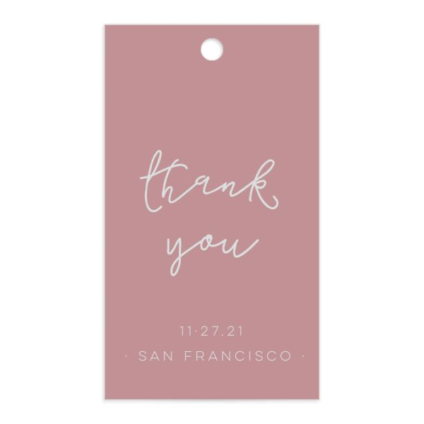 Gold Calligraphy favor gift tags pink front