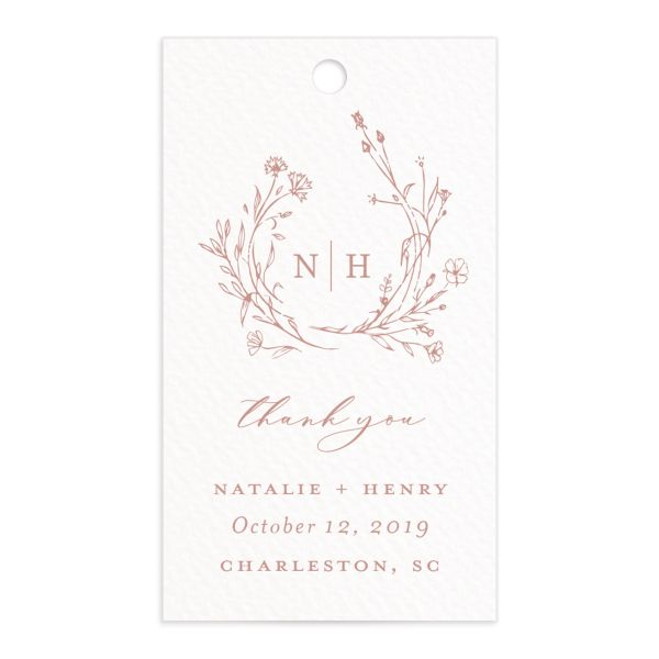 Natural Monogram wedding favor gift tag fronts in pink