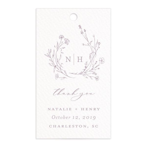 Natural Monogram wedding favor gift tag fronts in purple