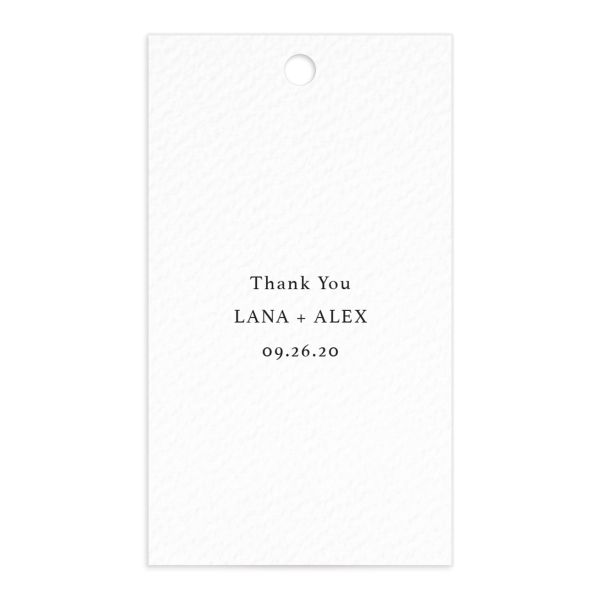 Natural Palette wedding favor gift tags closeup white front