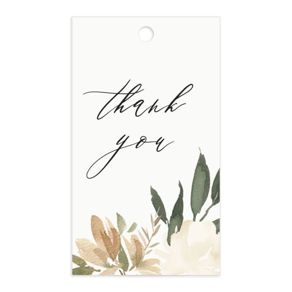 neutral greenery wedding favor gift tags in green