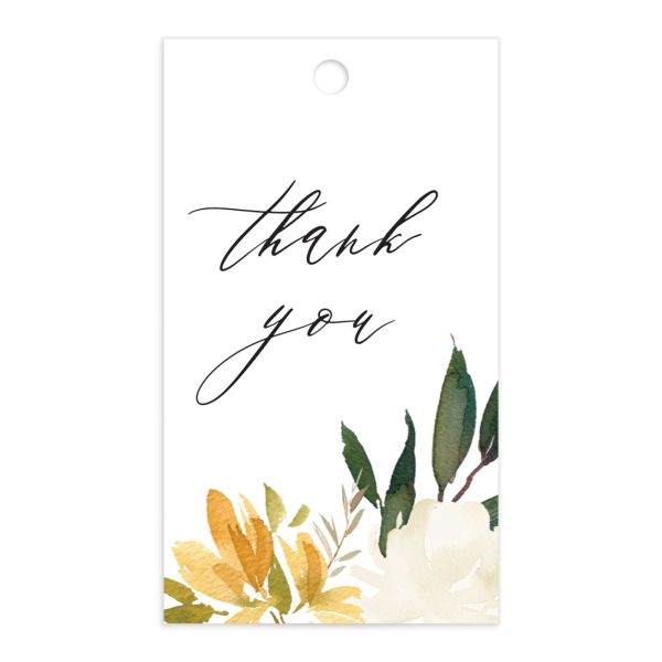 neutral greenery wedding favor gift tags in yellow