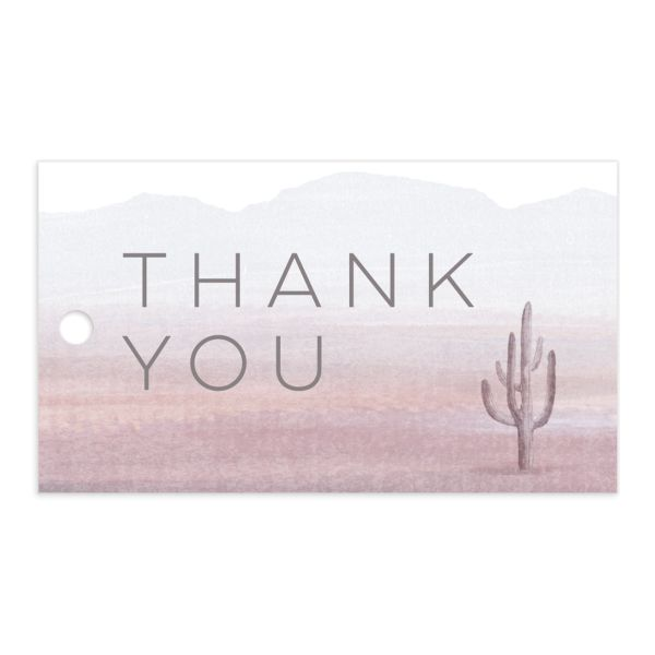 painted desert wedding favor gift tags in purple