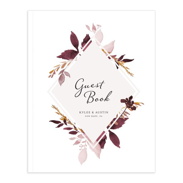 leafy frame wedding guest books in burgundy