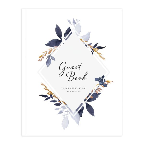 leafy frame wedding guest books in navy
