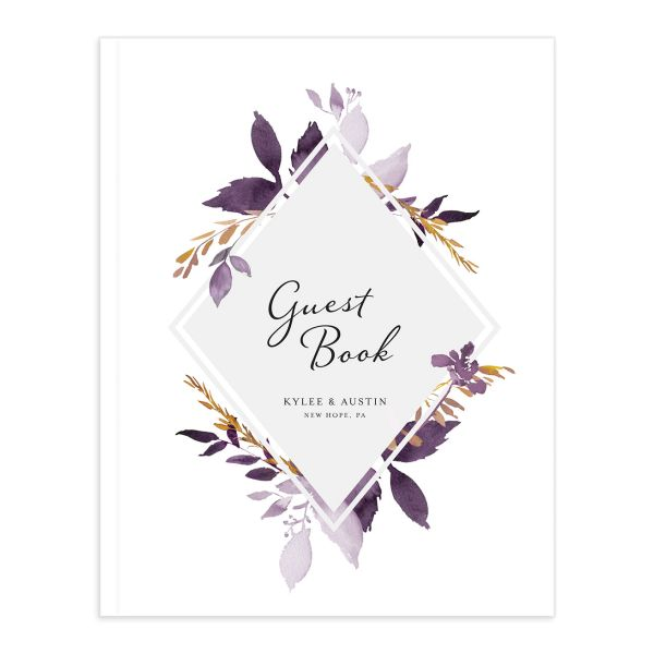 leafy frame wedding guest books in purple